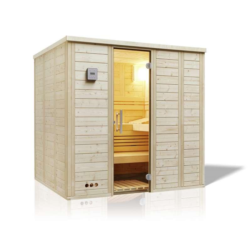 Infraworld Sauna Urban Gerade Massivholz 211 x 209 cm nordische Fichte 391037