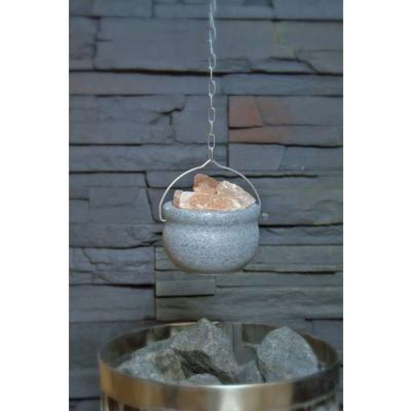 Nikkarien Sauna Aromaschale aus Speckstein mit Kristallsalz inkl. Metallkette 844