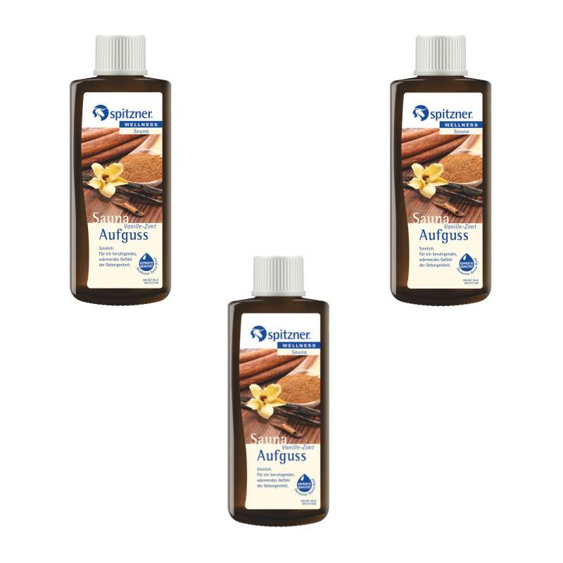 Spitzner Saunaaufguss Vanille-Zimt 3x 190 ml 3er Vorteilspack Wellness Konzentrat