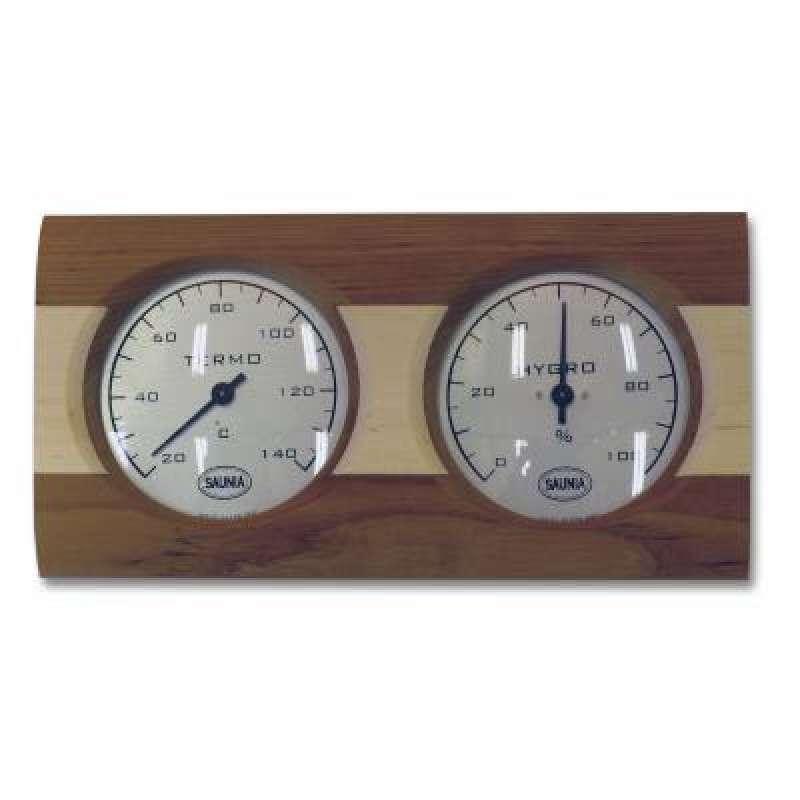 Nikkarien Sauna Thermo und Hygrometer mit einem Streifen Kiefernholz 512L