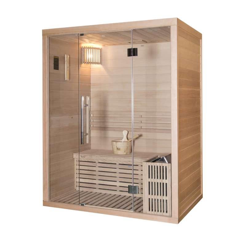 Wellis Igneus Hemlock finnische Sauna 150x105x190cm Komplett-Set inkl. Saunaofen Saunazubehör