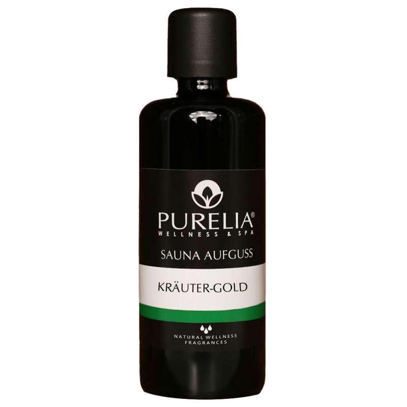 PURELIA Saunaaufguss Konzentrat Kräuter-Gold 100 ml natürlicher Sauna-aufguss - reine ätherische Öle