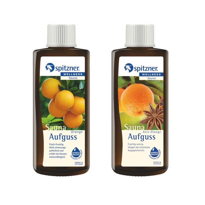 Spitzner 2 Düfte Orange und Anis Orange Vorteilspack Saunaaufguss mit je 190 ml