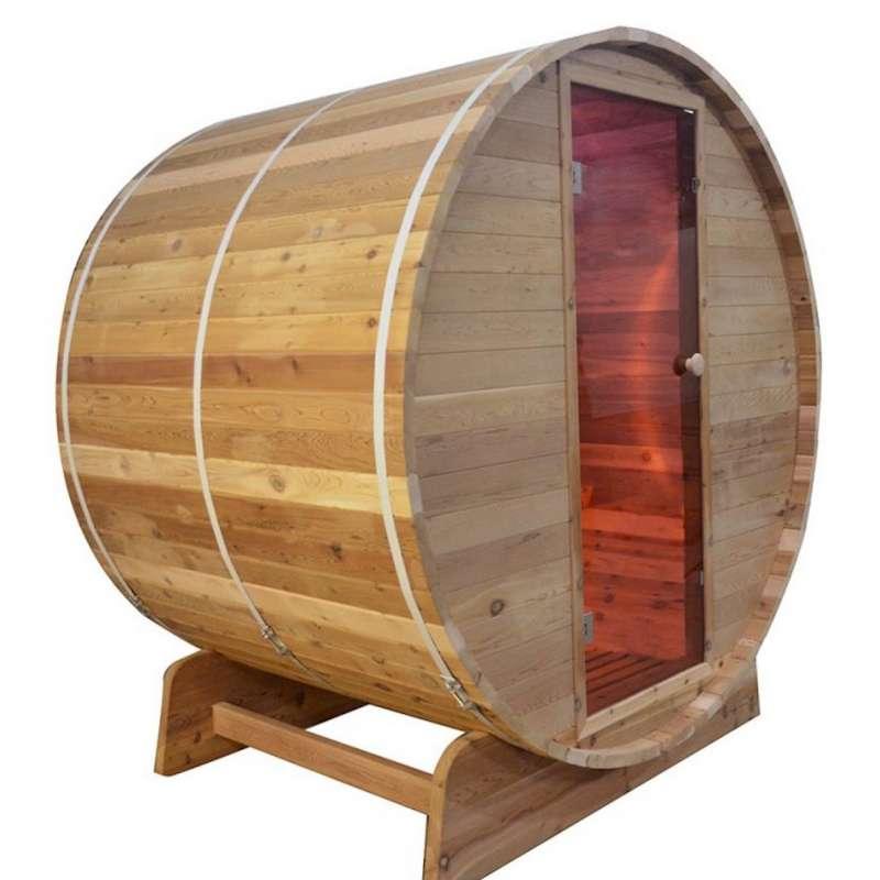 Fass-Sauna Infarotkabine 150 x Q 197 cm Zedernholz mit Astlöcher