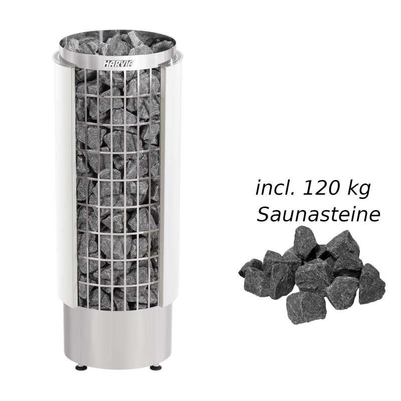 Harvia Saunaofen Cilindro 10,8 kW Elektroofen PC110VHE Saunaheizung weiß