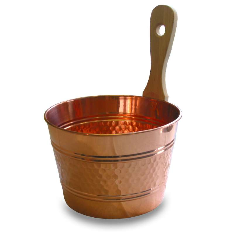 Nikkarien Saunakübel 4 Liter Kupfer mit Holzgriff 488