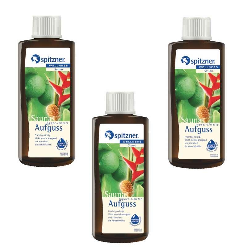 Spitzner Saunaaufguss Ingwer Limette 190 ml 3er Vorteilspack Aufgussset