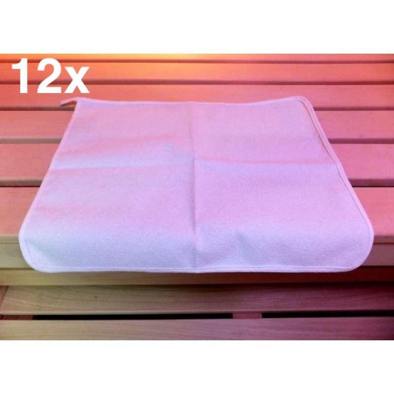 Sauna Sitztuch 12 Stck für finnische Sauna Dampfbad Wärmekabine 35x45 cm weiß