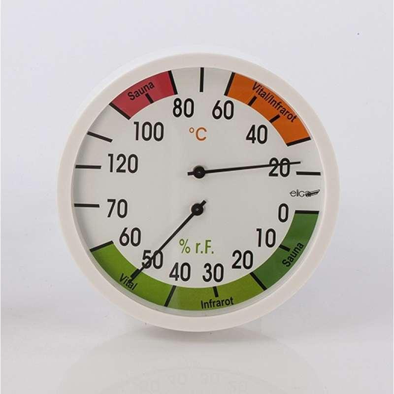 Eliga Klimamesser 120 mm Thermo - und Hygrometer Sauna / Vital / Infrarot