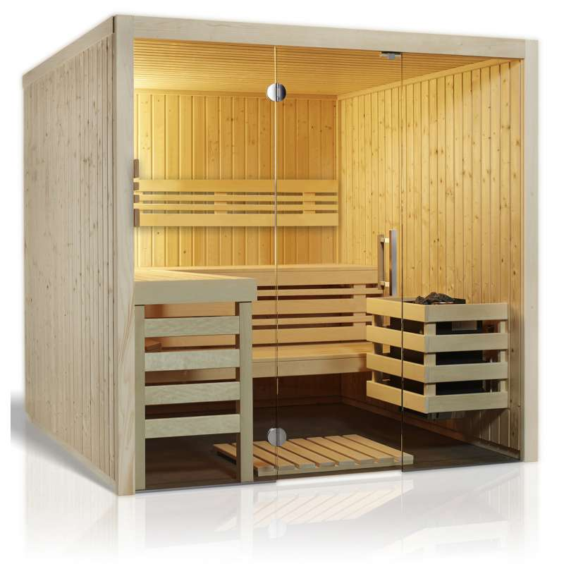 Infraworld Sauna Panorama 210 Elementsauna 210 x 210 cm in nord. Fichte 391070