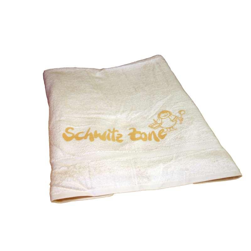 Silver Star Saunalaken Saunatuch natur / beige 70 x 220 cm Aufdruck Schwitzzone