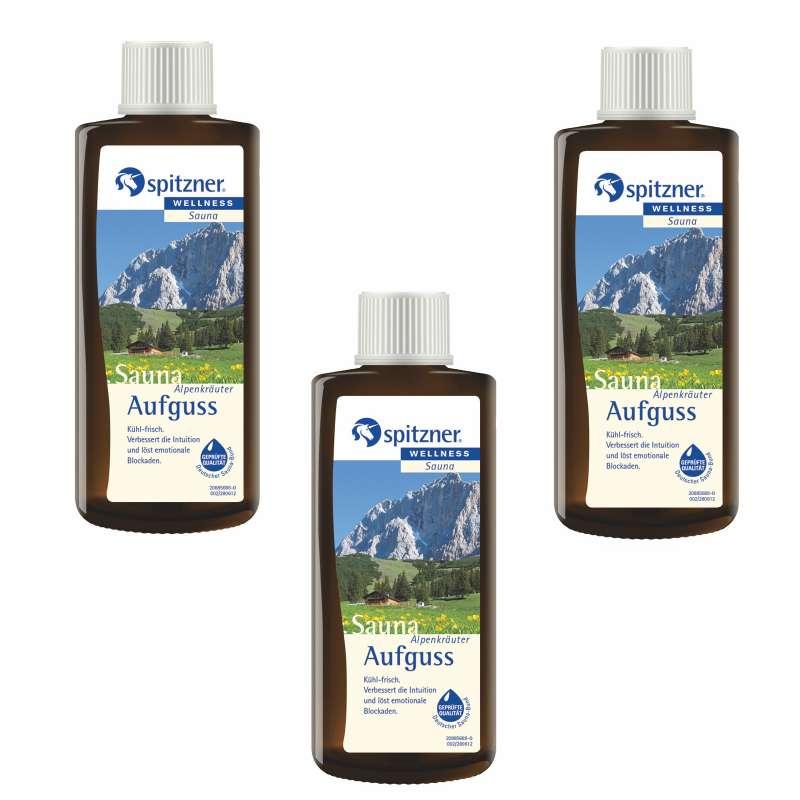 Spitzner Vorteilspack Alpenkräuter 190 ml 3er Saunaaufguss Aufgussset