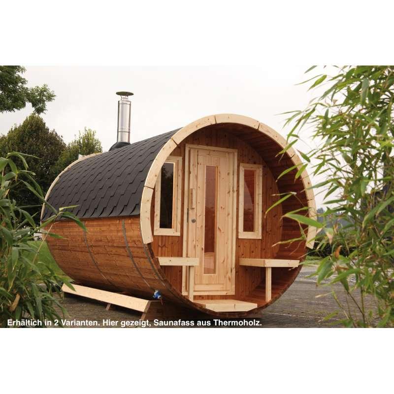 WOLFF FINNHAUS Saunafass 330 de Luxe naturbelassen Gartensauna Außensauna