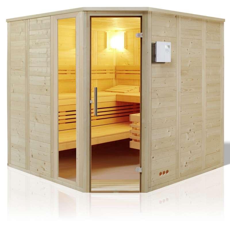 Infraworld Sauna Urban Ecke Massivholz 228 x 209 cm nordische Fichte 391038