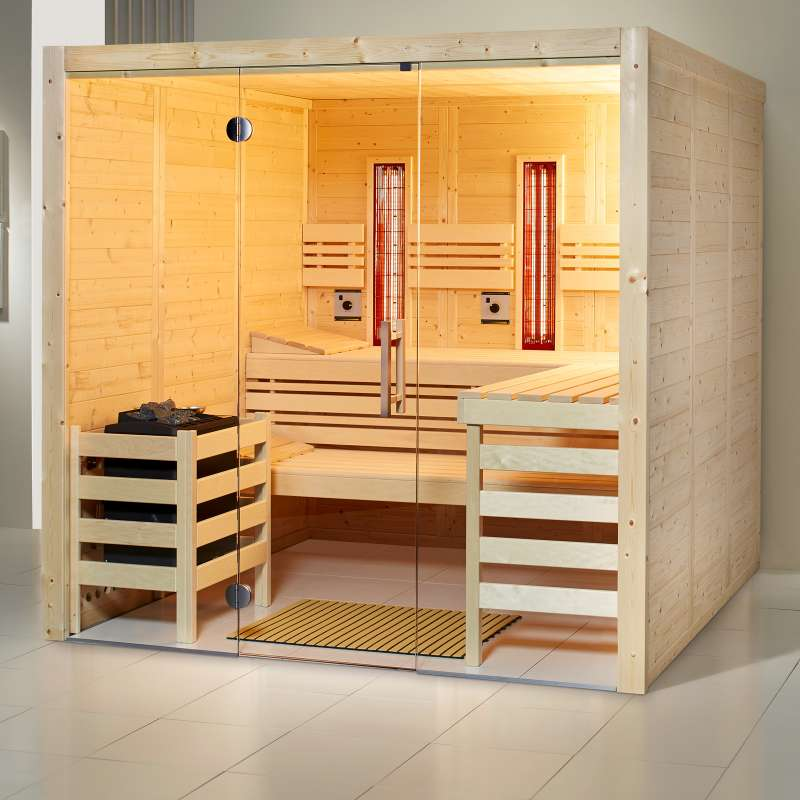 Infraworld Sauna Opal Massiv Größe 210 x 210 cm in Fichte 391045