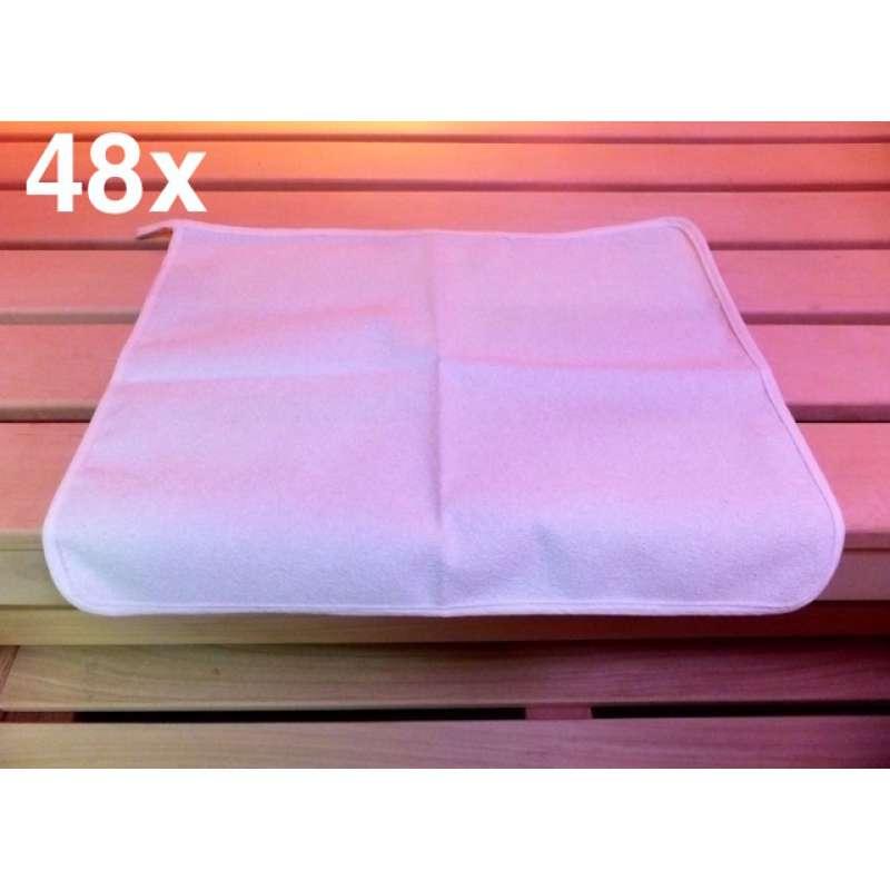Sauna Sitztuch 48 Stck für finnische Sauna Dampfbad Wärmekabine 35x45 cm weiß
