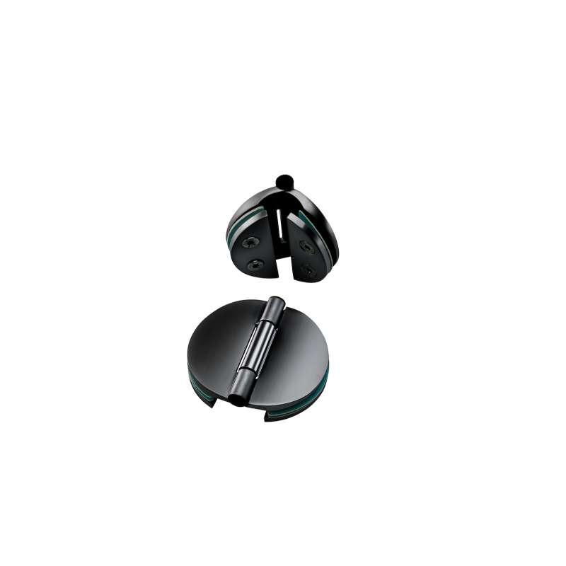 Infraworld 2x Doppeltürband schwarz matt für 6 bzw. 8 mm Glastür Saunatür