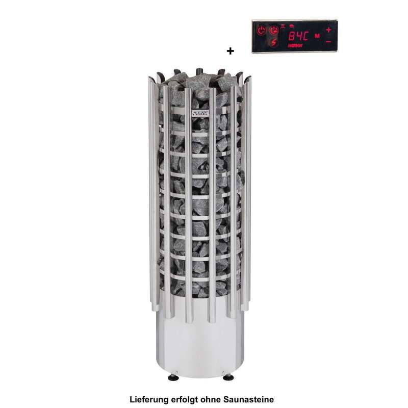 Harvia Saunaofen Glow Tower EE 9 kW Elektroofen mit Steuerung Bedienfeld TRT90EE