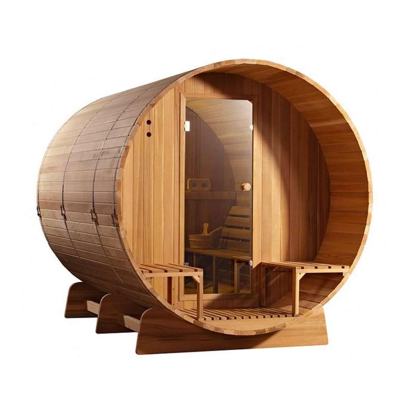 Fass-Sauna 305 x Q 214 cm Zedernholz astfrei 4 - 6 Personen ohne Ofen