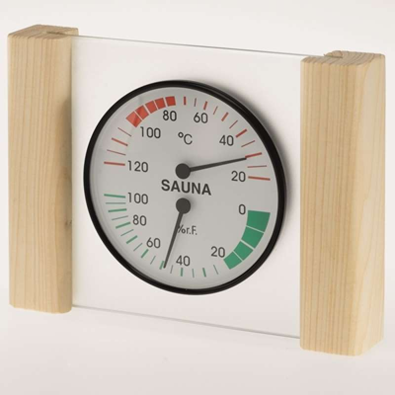 Infraworld Klimamesser mit Glas Holzrahmen in Fichte Sauna Thermometer Hygrometer