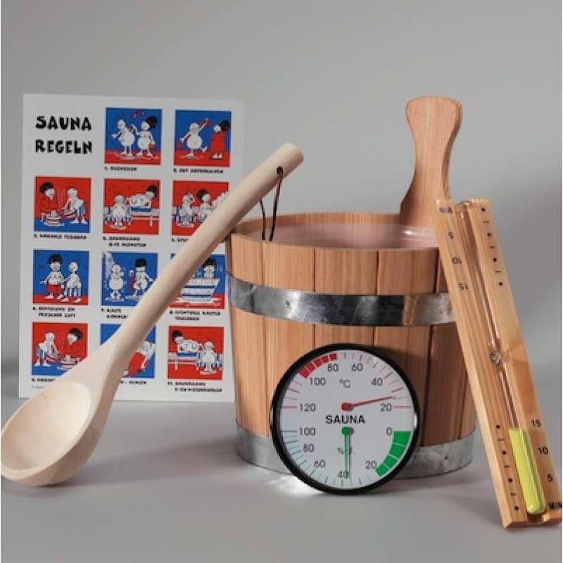 Infraworld Saunaset Classic 6 teilig Aufgußeimer Kelle Sanduhr S2206