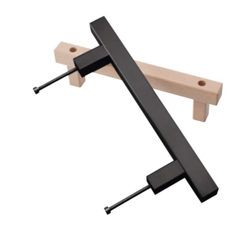 Infraworld Türgriff-Set Edelstahl quadratisch schwarz für Saunatür B3321-S