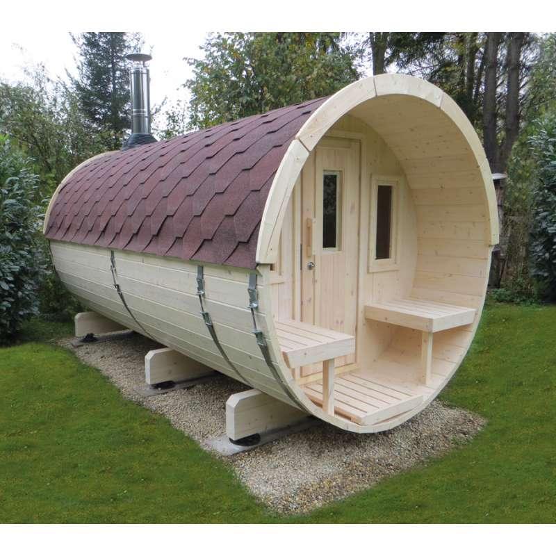 WOLFF FINNHAUS Saunafass 400 Fichte 42 mm naturbelassen Gartensauna Außensauna