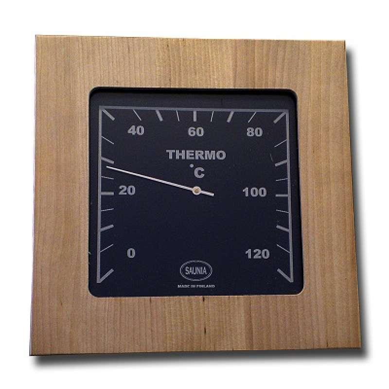 Nikkarien Sauna Thermometer bis 120 °C Größe 18x18 cm Holzrahmen Birkenholz