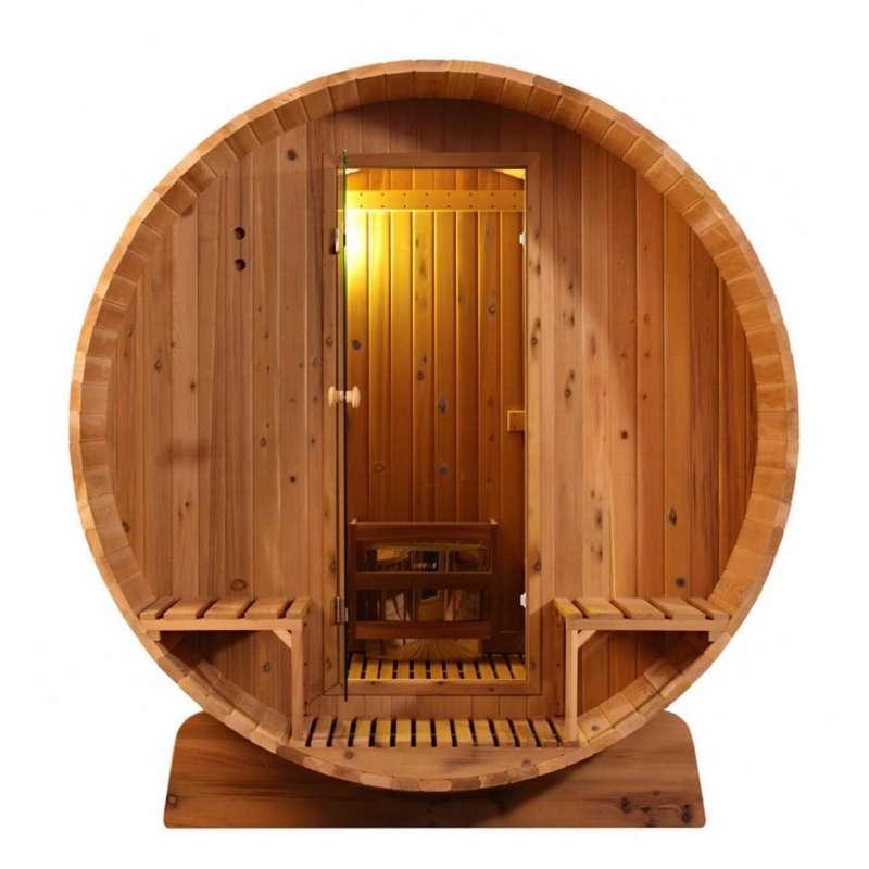 Fass-Sauna 305 x Q 214 cm Zedernholz knorrig 4 - 6 Personen Fasssauna ohne Ofen