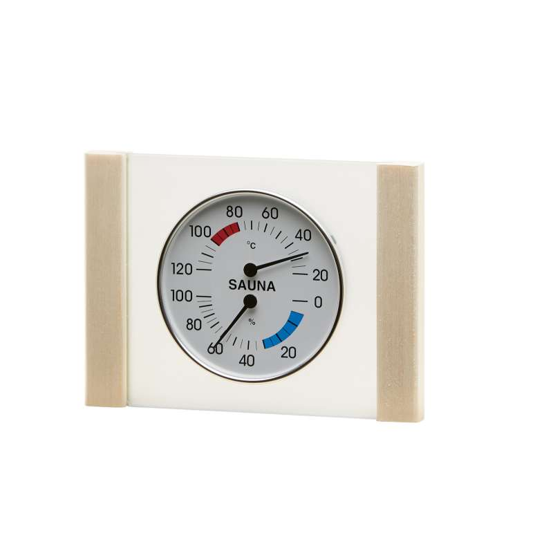 Infraworld Klimamesser mit Glas Holzrahmen in Espe Sauna Thermometer Hygrometer