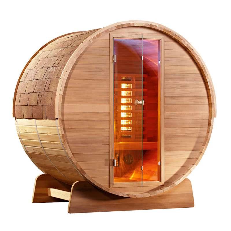 Fass-Sauna Infarotkabine 150 x Q 197 cm Zedernholz ohne Astlöcher