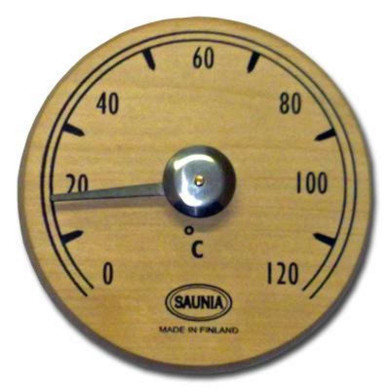 Nikkarien Sauna Thermometer rund aus dunkler Erle hitzebeständiges Holz 471TL