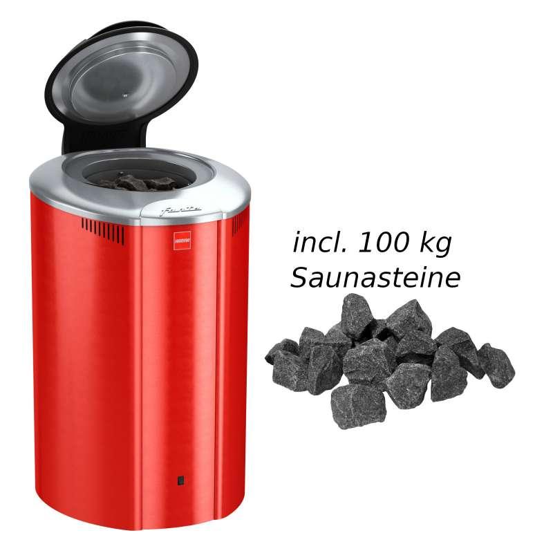 Harvia Saunaofen Forte 4,0 kW Elektroofen AF4 Saunaheizung Saunaheizgerät, Farbe Rot