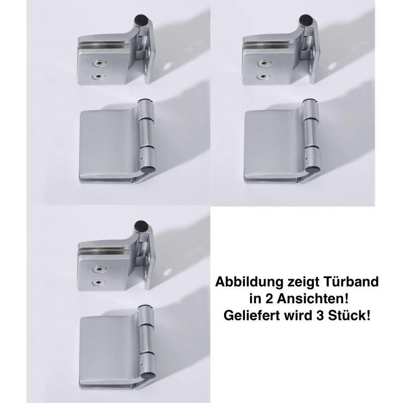 Infraworld Türband eckig für Saunatüren 3 Stück für 6 bzw 8 mm Glastür
