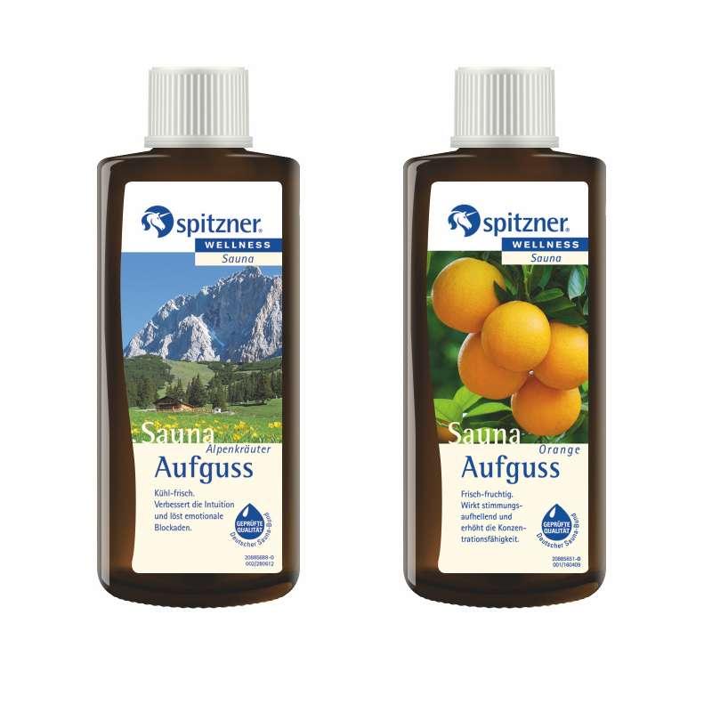 Spitzner 2 Düfte Alpenkräuter und Orange Vorteilspack Saunaaufguss mit je 190 ml