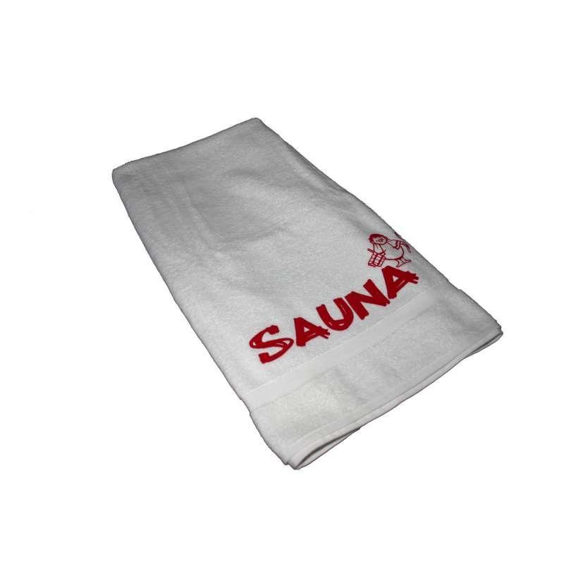 Silver Star Saunalaken Saunatuch weiß / rot 70 x 220 cm Aufdruck Sauna