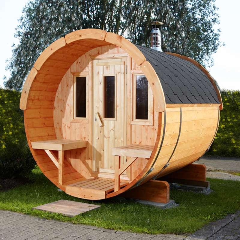 WOLFF FINNHAUS Saunafass 250 Fichte 42 mm naturbelassen Gartensauna Außensauna